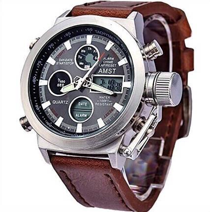 Наручные мужские армейские часы Amst Watch Коричневые, фото 2
