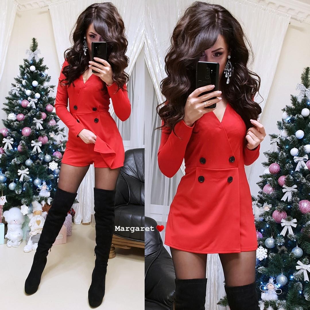 Модный красный женский комбинезон с шортами