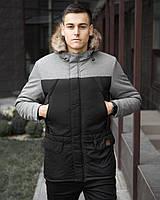 Куртка мужская зимняя Аляска черный с серым