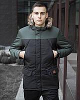 Куртка мужская зимняя Аляска черный с хаки