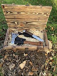 """Набір подарунковий """"Воїн"""" Gorillas BBQ в дерев'яній коробці"""