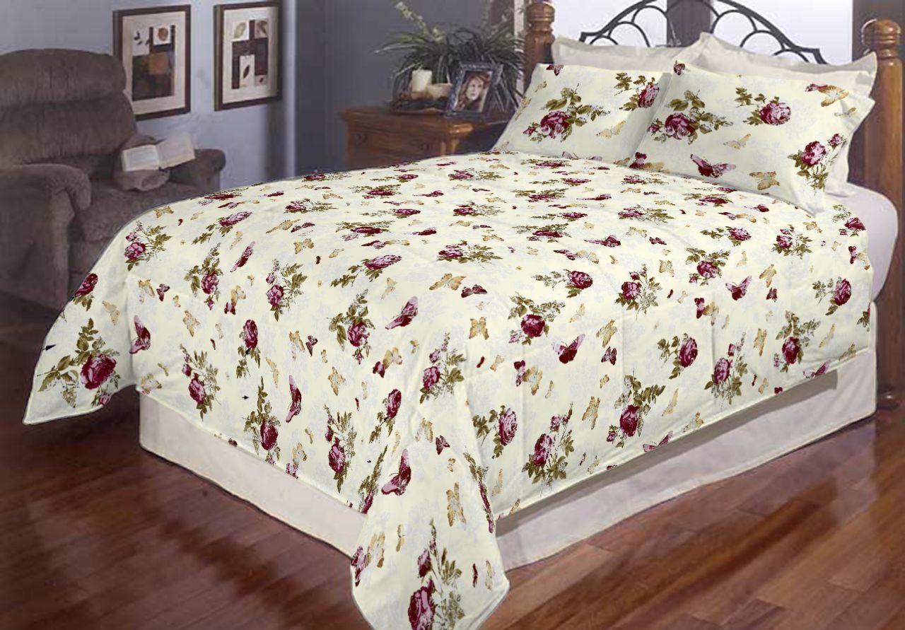 Полуторный размер постельного белья бязь «Роза и бабочки»