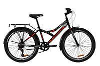 """Велосипед подростковый 24"""" Discovery FLINT MC 2020 (рама 14"""", черный, с багажником)"""