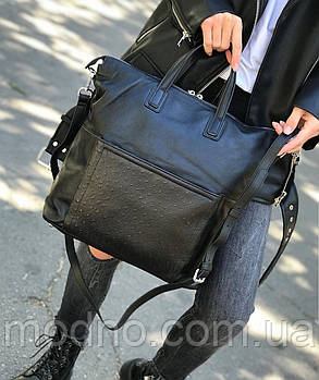 Женская двухсторонняя кожаная сумка Polina & Eiterou