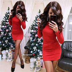 Женское стильное красное платье с люрексом