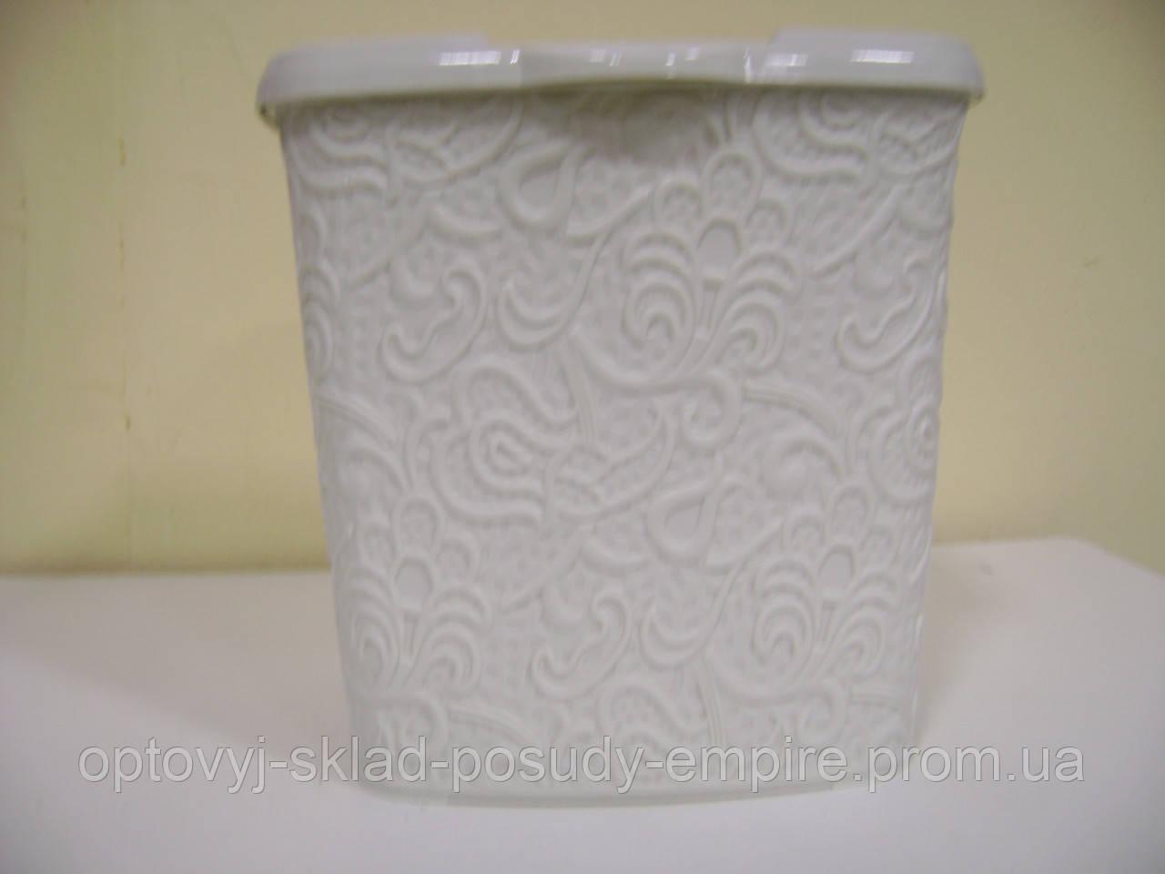 Корзинка для вещей с крышкой узорчатая 383 (топленое молоко)