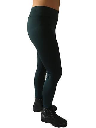 Брючные лосины  микродайвинг с начесом № 160 стрейч темно-бутылочные  норма, фото 2