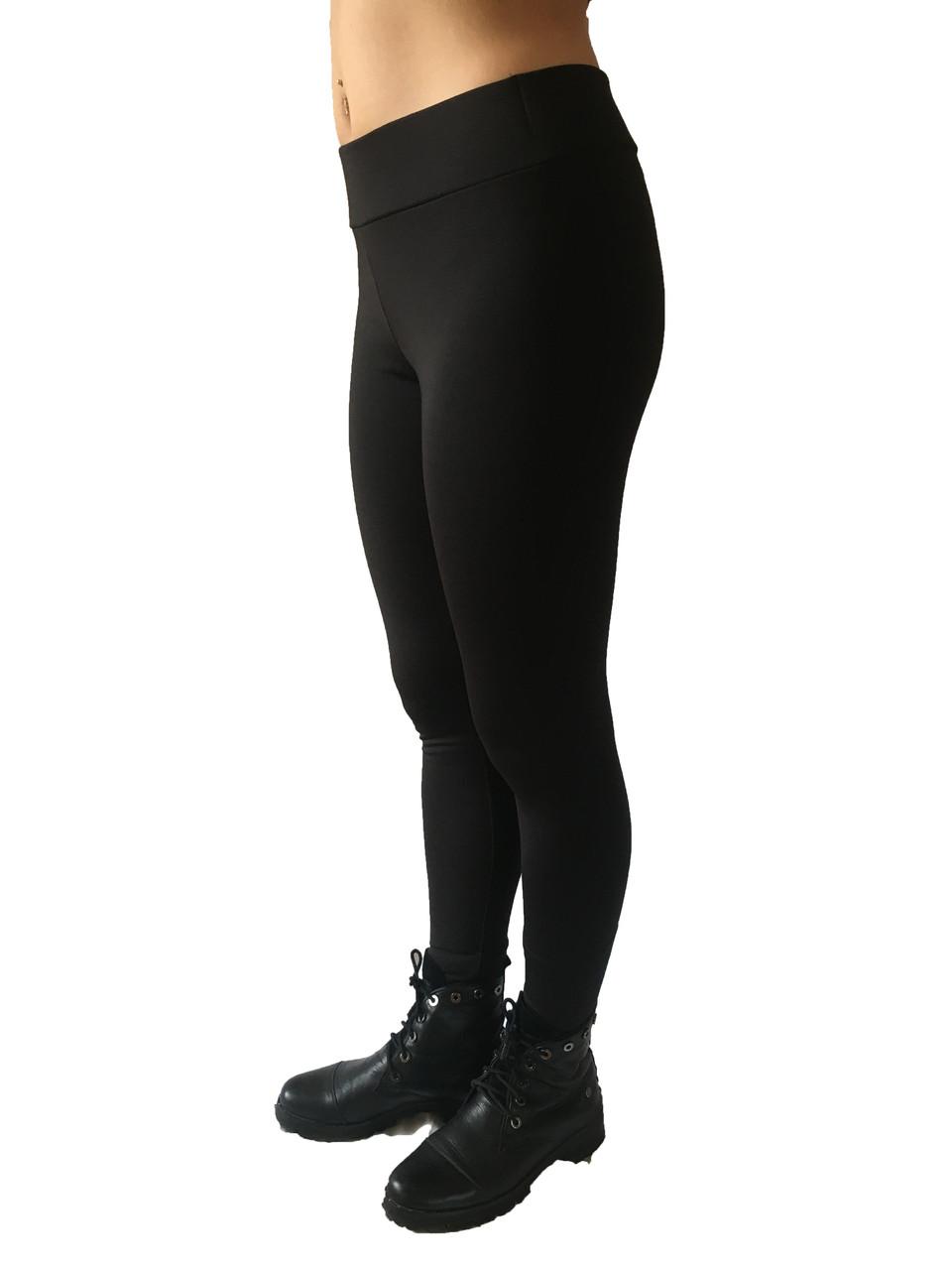 Брючные лосины  микродайвинг с начесом № 160 стрейч черные  норма