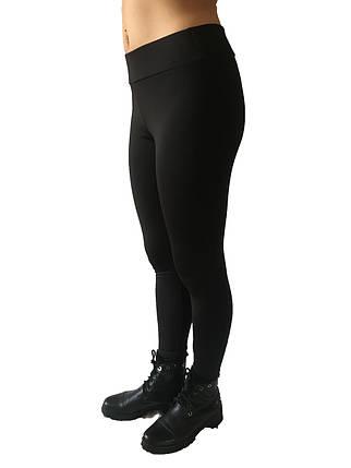 Брючные лосины  микродайвинг с начесом № 160 стрейч черные  норма, фото 2