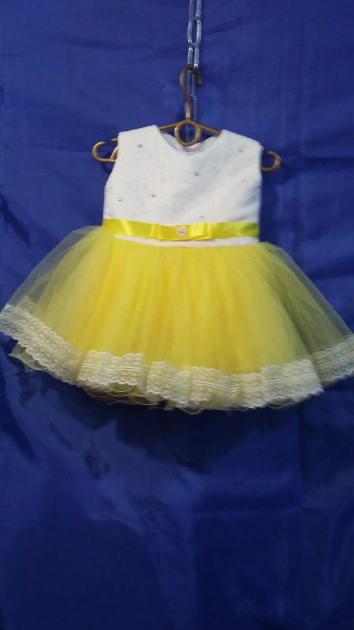 Детское платье для девочки с кружевом р. 1 годик опт белый+жёлтый