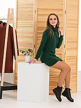 Молодежное платье-туника теплое вязаное