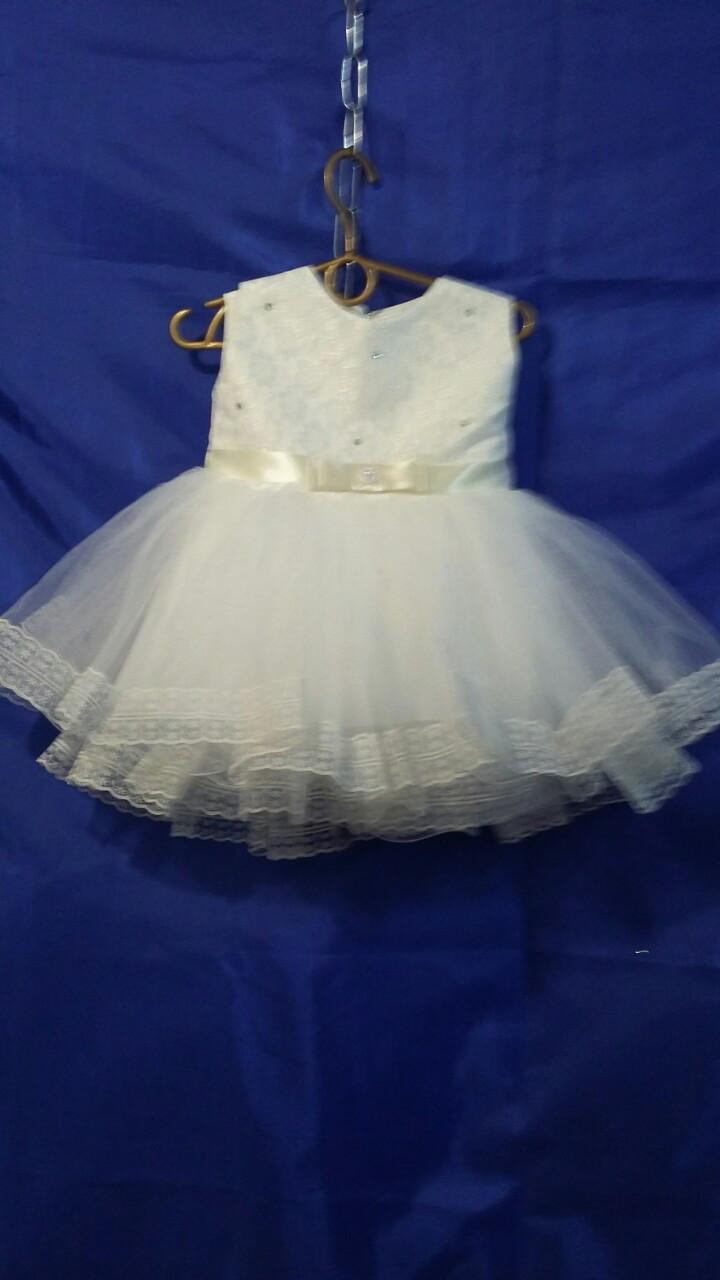 Детское платье для девочки с кружевом р. 1 годик опт белое