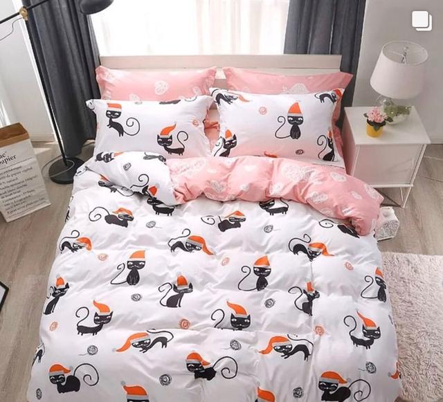 фотография постельное белье двуспальный размер с котами