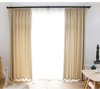 Готовые шторы блекаут Лен  айвори, фото 1