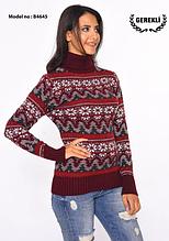 Красивый шерстяной свитер воротник под горло