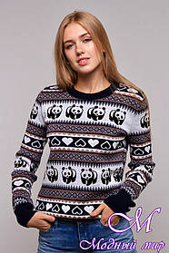 Вязаный женский свитер с пандами (р. УН. 44-48) арт. К-13-213