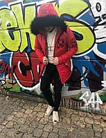 Мужская зимняя красная парка куртка Off White, Чоловіча червона парка Off-White зимова