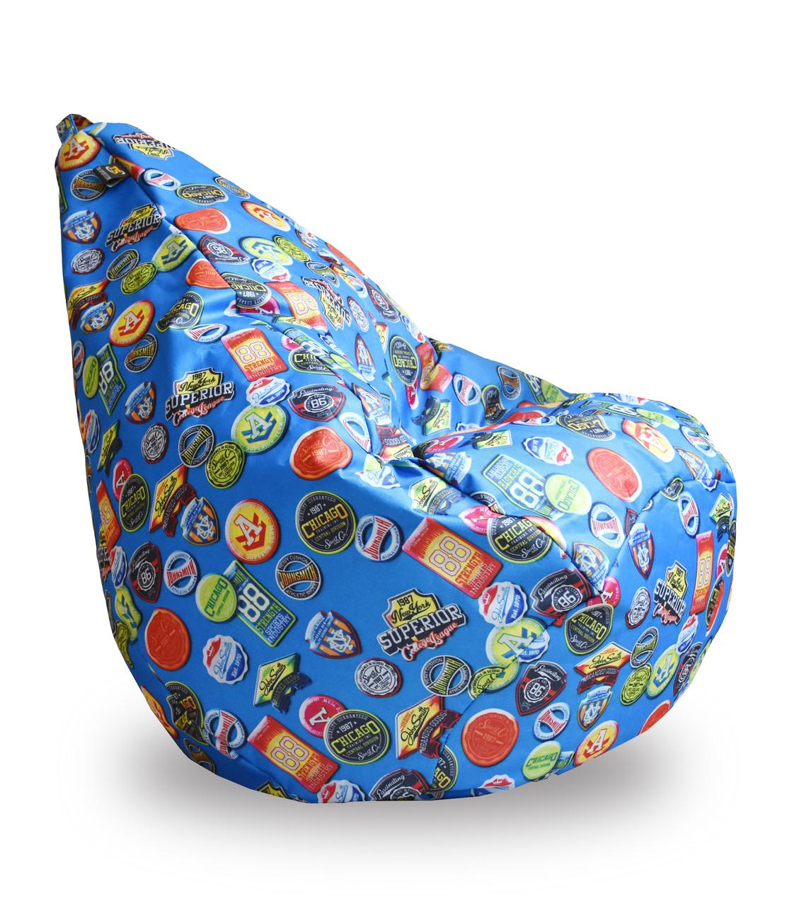 """Крісло груша Принт """"Значки"""" блакитний. Матеріал виробу можна змінювати."""