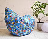 """Крісло груша Принт """"Значки"""" блакитний. Матеріал виробу можна змінювати., фото 2"""