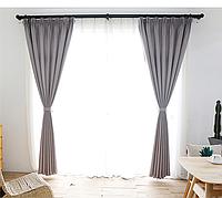 Готовые шторы блекаут Лен Светло Серый, фото 1