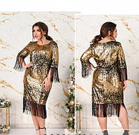 / Размер 48,50,52,54,56,58,60 / Женское коктейльное платье батал с пайетками 1735-Золото