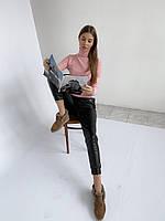 Стильные женские узкие брюки из эко кожи на трикотажной основе хорошего качества, манжеты (42-46), фото 1