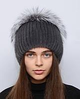 """Норковая шапка женская меховая на вязаной основе """"Шарик с разрезом и большим бубоном из чернобурки"""""""