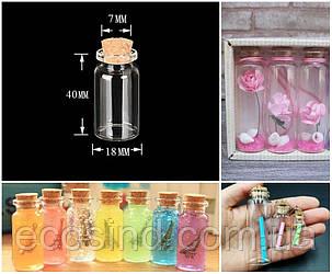 (1шт) Стеклянная мини бутылочка с пробкой 40х18мм (6ml) (сп7нг-2525)