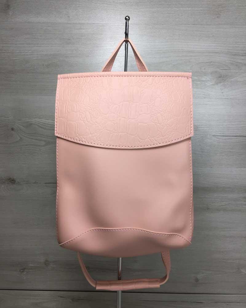 Сумка-Рюкзак из Искусственной Кожи Молодежный розового цвета!