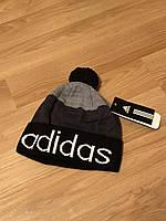 Мужская зимняя шапка adidas, серая шапка адидас