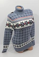Вязаный женский свитер из шерсти темно-синий