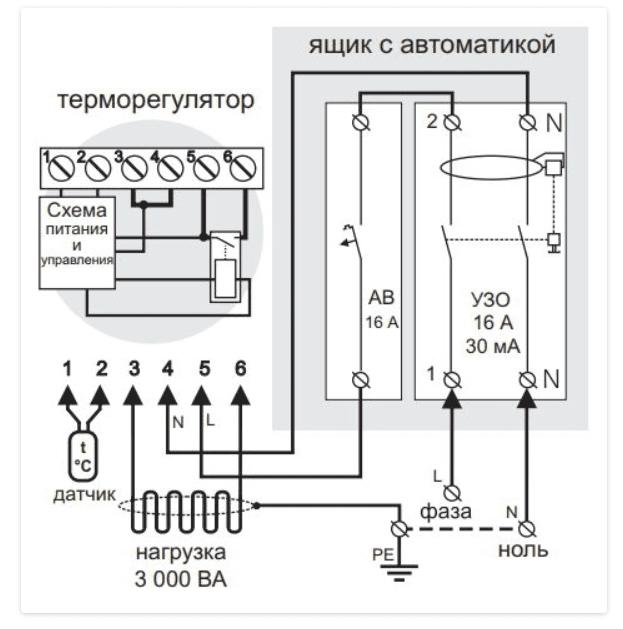 Схема підключення терморегулятора