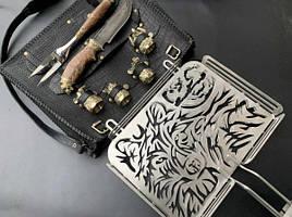 """Авторский набор для барбекю ручной работы """"Волк"""" (решетка, вилка, чарки, нож), в кожаном чехле"""