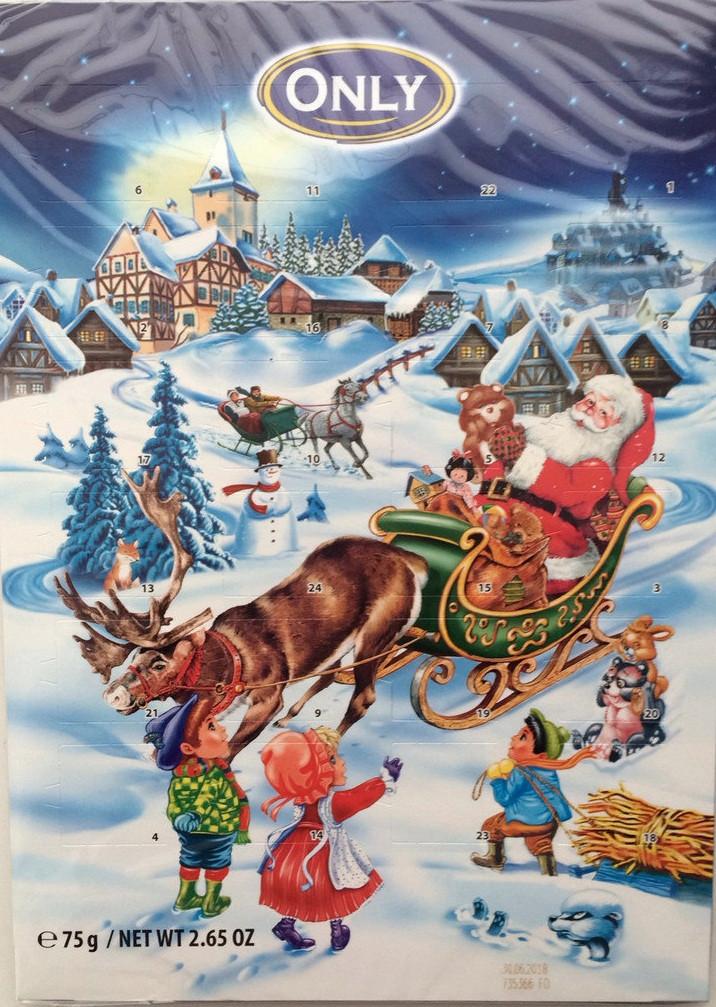 Адвент календарь шоколадный новогодний Only 75г