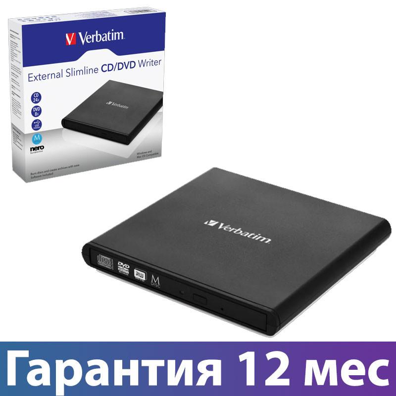 Внешний дисковод для ноутбука Verbatim SlimLine, Black, DVD-RW, USB 2.0, переносной оптический привод