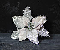 Квітка пуансетії оксамитової з люрексом ніжно-мерехтливої кольору, фото 1