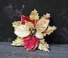 Цветок пуансетии бархатной с люрексом красная
