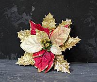 Цветок пуансетии бархатной с люрексом красная, фото 1