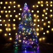 Декор Елка ЛОФТ Новогодняя Рождественская Ель с LED Гирляндой На Батарейках+USB+220V 38х22см GoldMultiLOFT