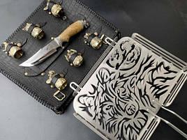 """Подарочный набор для барбекю """"Волк"""" (решетка, чарки, нож), в чехле из натуральной кожи"""