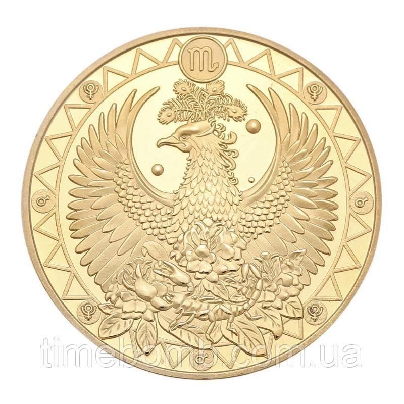 Позолоченная сувенирная монета на удачу ''Знак зодиака - Скорпион''