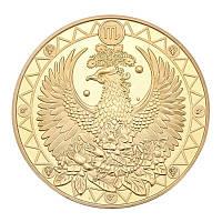 Позолоченная сувенирная монета на удачу ''Знак зодиака - Скорпион'', фото 1