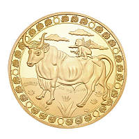 Позолоченная сувенирная монета на удачу ''Знак зодиака - Телец'', фото 1