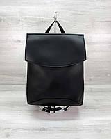 Молодежный сумка-рюкзак черный гладкий