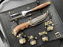 """Эксклюзивный набор для барбекю ручной работы """"Лев"""" (решетка, вилка, чарки, нож), в чехле из натуральной кожи, фото 2"""