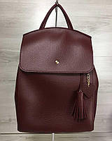 Молодежный сумка-рюкзак Сердце бордового цвета