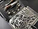 """Эксклюзивный набор для барбекю ручной работы """"Лев"""" (решетка, вилка, чарки, нож), в чехле из натуральной кожи, фото 3"""