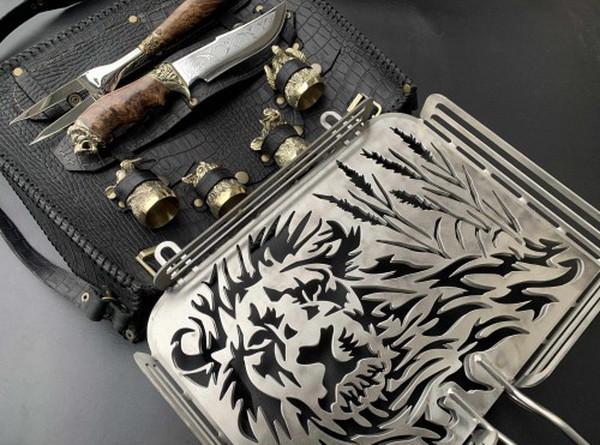 """Набор для барбекю """"Лев"""" (решетка, вилка, чарки, нож), в чехле из натуральной кожи, фото 3"""
