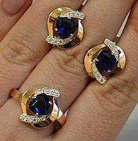 Серебряный набор кольцо и серьги