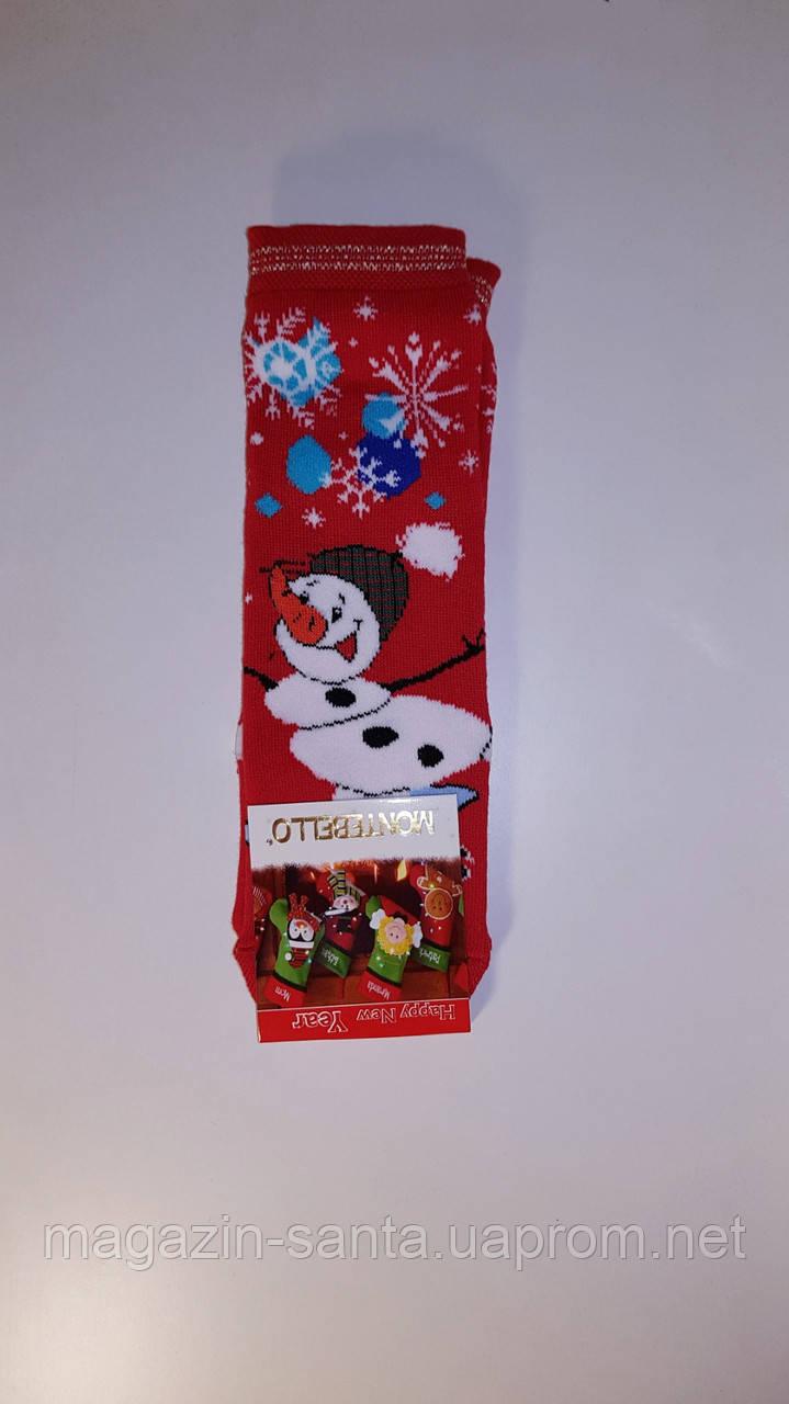 """Новогодние носки женские  зимние махровые внутри хлопок """"Montebello"""""""
